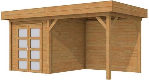 Blokhut Kolibri met luifel 300, afm. 550 x 250 cm, plat dak, houtdikte 28 mm. - bruin geïmpregneerd