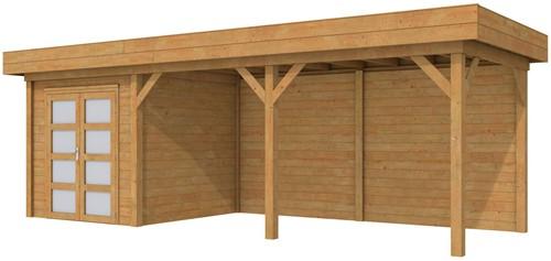Blokhut Kolibri met luifel 500, afm. 750 x 250 cm, plat dak, houtdikte 28 mm. - bruin geïmpregneerd