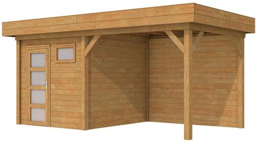 Blokhut Kuifmees met luifel 300, afm. 550 x 250 cm, plat dak, houtdikte 28 mm - bruin geïmpregneerd