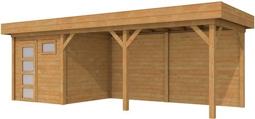 Blokhut Kuifmees met luifel 500, afm. 750 x 250 cm, plat dak, houtdikte 28 mm. - bruin geïmpregneerd