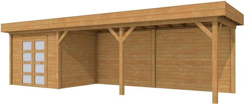 Blokhut Bonte Specht met luifel 600, afm. 900 x 250 cm, plat dak, houtdikte 28 mm. - bruin geïmpregneerd