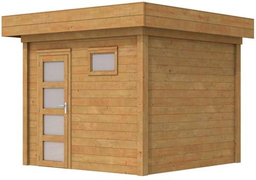 Blokhut Bonte Kraai, afm. 300 x 250 cm, plat dak, houtdikte 28 mm. - bruin geïmpregneerd