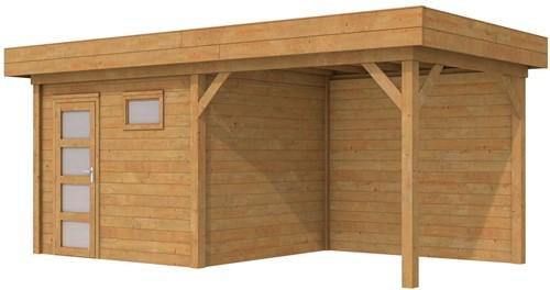 Blokhut Bonte Kraai met luifel 400, afm. 700 x 250 cm, plat dak, houtdikte 28 mm. - bruin geïmpregneerd