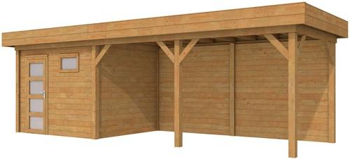 Blokhut Bonte Kraai met luifel 500, afm. 800 x 250 cm, plat dak, houtdikte 28 mm. - bruin geïmpregneerd