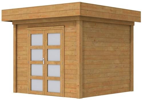 Blokhut Bonte Specht, afm. 300 x 250 cm, plat dak, houtdikte 28 mm. - bruin geïmpregneerd
