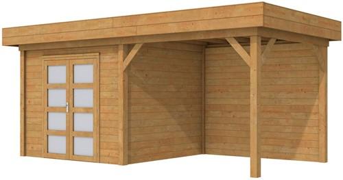 Blokhut Bonte Specht met luifel 300, afm. 600 x 250 cm, plat dak, houtdikte 28 mm. - bruin geïmpregneerd