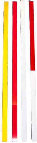 aluminium reflectorband, afm. 1,7 x 50 cm, wit/rood, inclusief montage