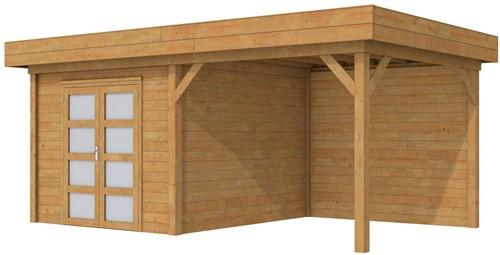 Blokhut Bosuil met luifel 400, afm. 700 x 300 cm, plat dak, houtdikte 28 mm. - bruin geïmpregneerd