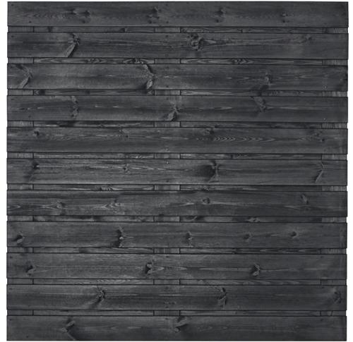 Tuinscherm Fulda, 21-planks, zwart gespoten grenen