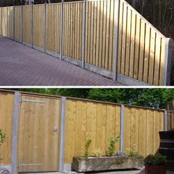 Beide systemen hout/beton-schutting