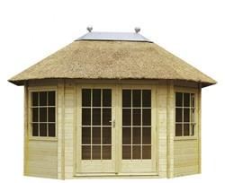 Tuinhuis met rieten dak kopen? | Kühlkamp Buitenhout | Maatwerk