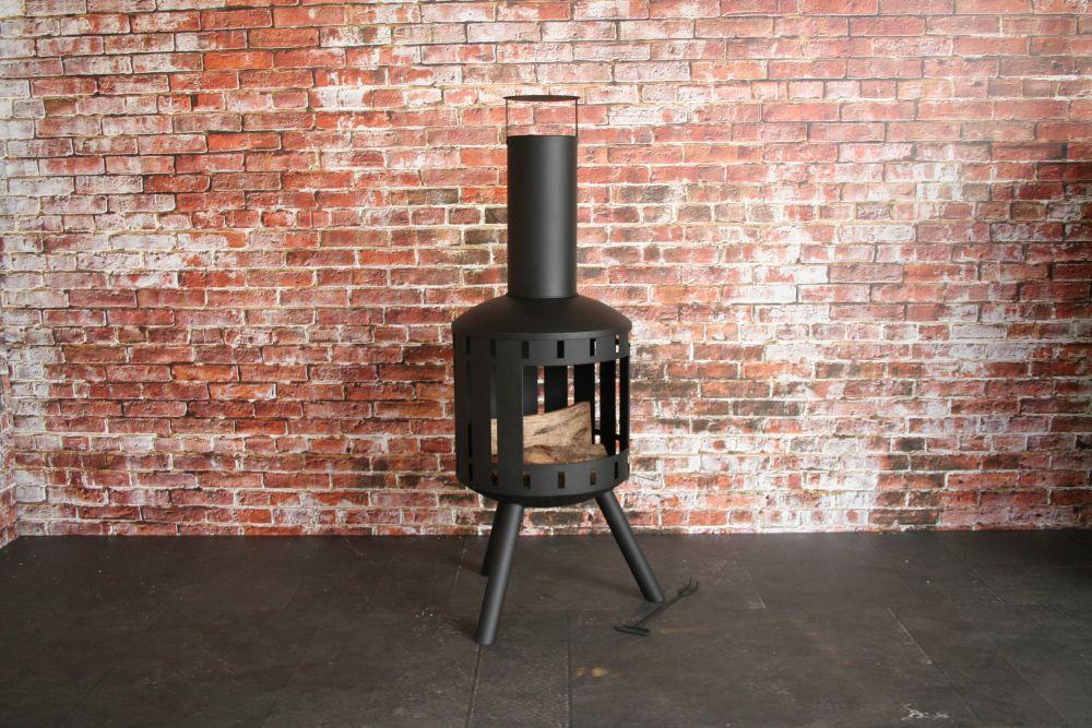 SenS-Line Tuinhaard Bjorn, diam. 44 cm, hoogte 127 cm, zwart gepoedercoat metaal