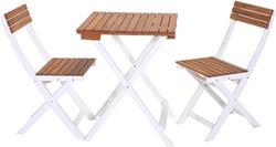 Bistroset Bordeaux, 2 stoelen en tafel, bruin/wit, FSC acaciahout