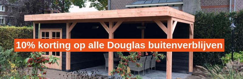 10% korting op uw Douglas tuinhuis of overkapping