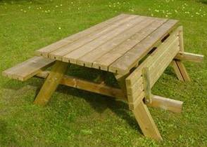 Picknicktafel, bladmaat 177 x 74 cm, geimpregneerd grenen, houtdikte 42 mm, opklapbare zittingen-3