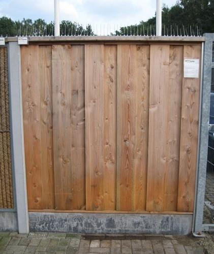 hout/betonschutting 12x12, douglas dichtscherm, douglas deksloof, 2 betonplaten, antraciet beton, per 0,96 m