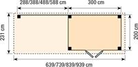 Blokhut Koekoek met luifel 400, afm. 689 x 203 cm, plat dak, houtdikte 28 mm.-2
