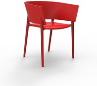 Vondom Africa stoel, afm. 58 x 53 x 75 cm, rood