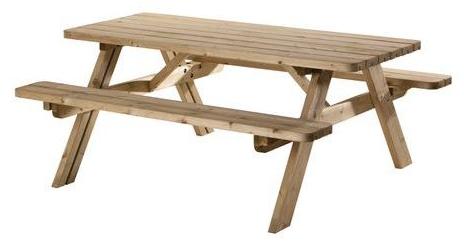 SenS-Line Picknicktafel, bladmaat 177 x 74 cm, geimpregneerd grenen, houtdikte 42 mm, opklapbare zittingen