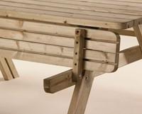 Picknicktafel, bladmaat 177 x 74 cm, geimpregneerd grenen, houtdikte 42 mm, opklapbare zittingen-2