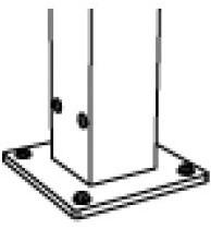 Voetplaat midden voor aluminium pergola