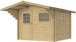 Blokhut Amoer, buitenmaat 298 x 298 cm, funderingsmaat 280  x 280 cm, zadeldak, houtdikte 28 mm, bruin geïmpregneerd