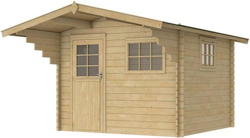 Blokhut Amoer, buitenmaat 298 x 298 cm, funderingsmaat 280  x 280 cm, zadeldak, houtdikte 28 mm, bruin geïmpregneerd-1