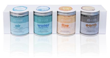 AquaFinesse Spa de Luxe Crystals, badzout voor in spa, per set van 4 geuren