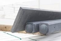 beton tussenpaal/eindpaal met bolkop voor hout/betonschutting 10x10, lengte 275 cm, antraciet glad