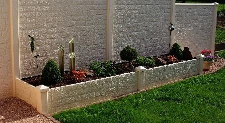 beton tussenpaal/eindpaal diamantkop voor bloembak 10x10x100, glad wit