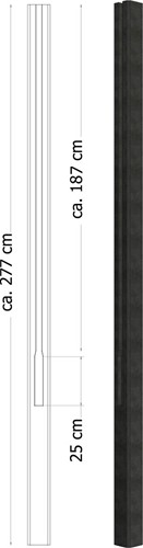 Betowood eindpaal, afm. 11,5 x 11,5 x 277 cm, antraciet
