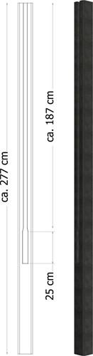 Betowood t-paal, afm. 11,5 x 11,5 x 277 cm, antraciet