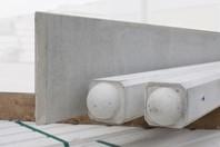 beton tussenpaal/eindpaal bolkop voor hout/betonschutting 10x10, lengte 180 cm, glad wit