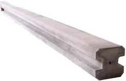 beton eindpaal 12 x 12 x 275 cm, 216 cm sleuf, glad, wit
