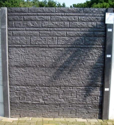 Betonschutting 12x12, 6 dubbelzijdige motiefplaten, geïmpregneerde deksloof, antraciet beton, per 0,96 m