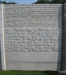Betonschutting 12x12, 6 enkelzijdige motiefplaten, hardhouten deksloof, wit beton, per 0,96 m