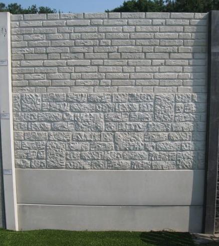Betonschutting 12x12, 6 enkelzijdige motiefplaten, hardhouten deksloof, wit beton, per 0,96 m-1