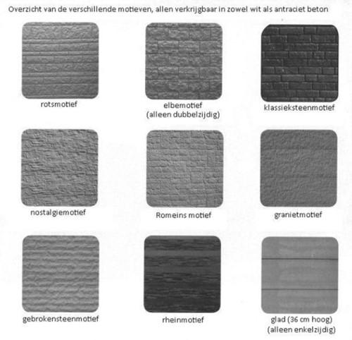 betonplaat voor schutting afm. 184x36 cm, enkelzijdig klassieksteen motief, antraciet