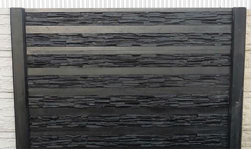 betonplaat voor schutting, afm.184x36 cm, enkelzijdig rhein motief, antraciet