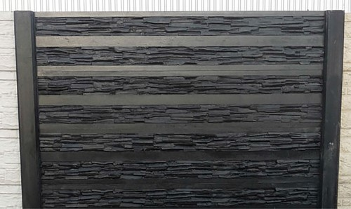 betonplaat voor schutting, afm. 184x36 cm, dubbelzijdig rhein motief, wit