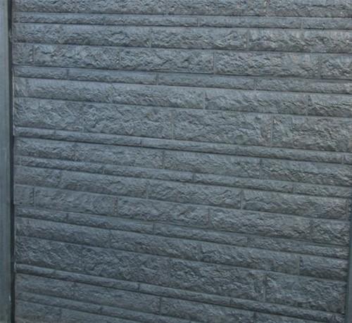 betonplaat voor schutting, afm. 184x36 cm, dubbelzijdig rots motief, antraciet-1