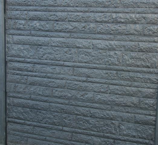 Kühlkamp betonplaat voor schutting, afm. 184x36 cm, dubbelzijdig rots motief, antraciet