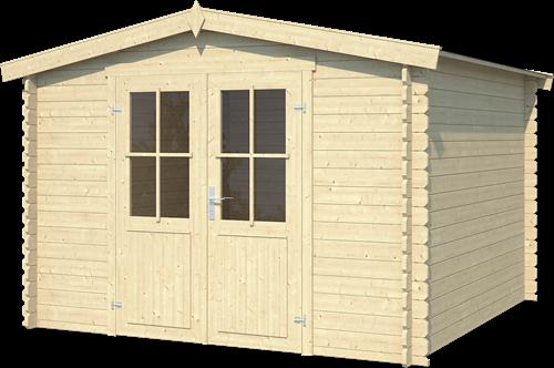 Blokhut Houston, 292 x 292 cm, met dubbele deur, zadeldak, houtdikte 28 mm, vuren - onbehandeld (blank) vuren