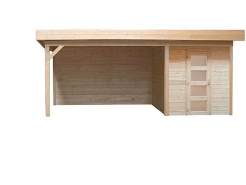 Blokhut Kievit met luifel 300, afm. 700 x 300 cm, plat dak, houtdikte 28 mm, blank vuren