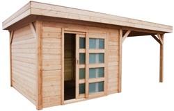 Blokhut Koekoek met luifel 600, afm. 900 x 200 cm, plat dak, houtdikte 28 mm, blank vure