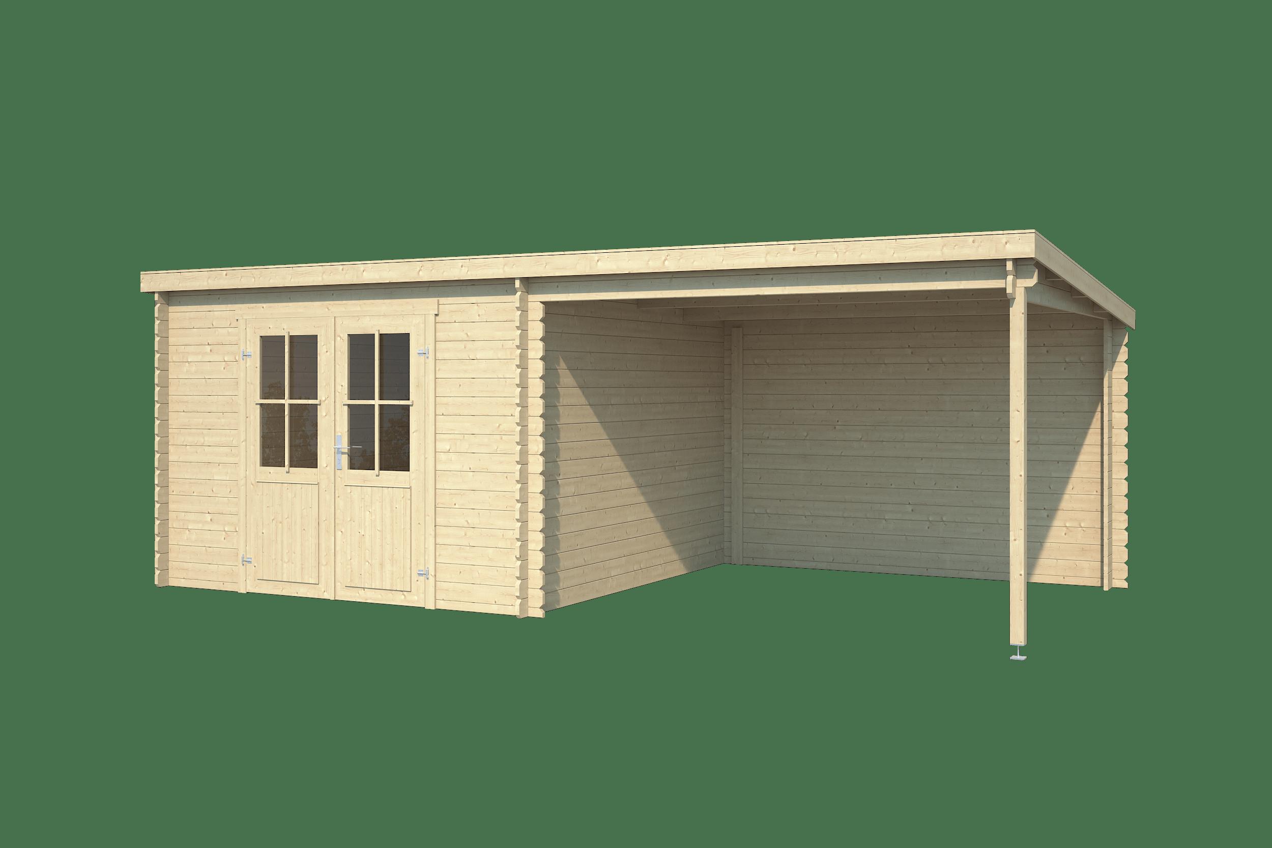 Outdoor Life Blokhut Orlando, 581 x 292 cm, met dubbele deur, lessenaarsdak, houtdikte 28 mm, vuren - onbehandeld (blank) vuren