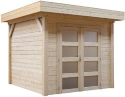 Blokhut Zwaluw, afm. 200 x 300 cm, houtdikte 28 mm, plat dak, blank vuren