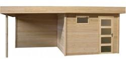 Blokhut Bonte Kraai met luifel 300, afm. 600 x 250 cm, plat dak, houtdikte 28 mm, blank vuren
