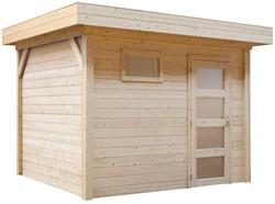Blokhut Bonte Kraai, afm. 300 x 250 cm, plat dak, houtdikte 28 mm, blank vuren