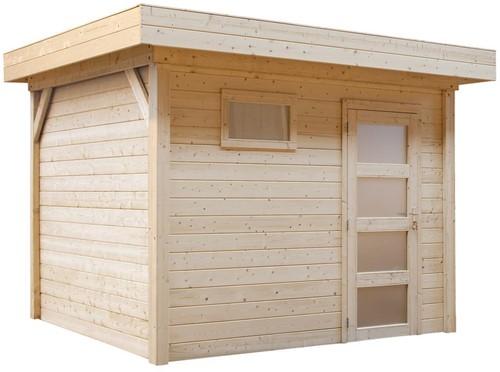 Blokhut Bonte Specht, afm. 300 x 250 cm, plat dak, houtdikte 28 mm, blank vuren